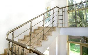 Stairs in the building with metal handrail