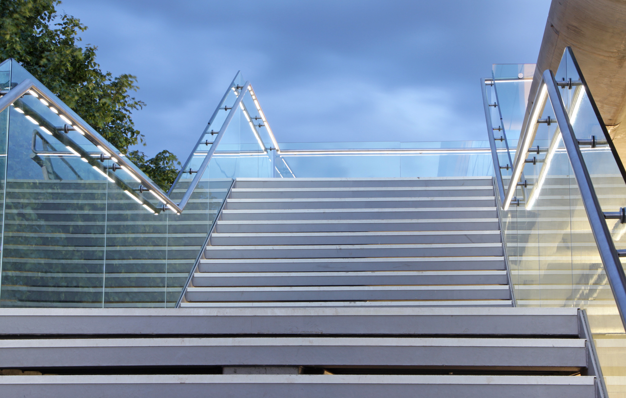 modern set of concrete steps